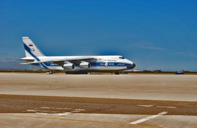 KENNEDY SPACE CENTER, FLA. - An Antonov aircraft arrives at Vandenberg Air Force Base in California carrying the Cloud-Aerosol Lidar and Infrared Pathfinder Satellite Observation (CALIPSO) spacecraft. CALIPSO will fly in combination with the CloudSat satellite to provide never-before-seen 3-D perspectives of how clouds and aerosols form, evolve, and affect weather and climate. CALIPSO and CloudSat will join three other satellites in orbit to enhance understanding of climate systems. The launch date for CALIPSO/CloudSat is no earlier than Aug. 22.