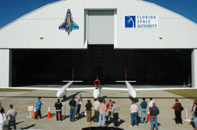 KENNEDY SPACE CENTER, FLA. ? The Virgin Atlantic GlobalFlyer aircraft is on display for employees at NASA's Kennedy Space Center, Fla. Steve Fossett will pilot the GlobalFlyer on a record-breaking attempt by flying solo, non-stop without refueling, to surpass the current record for the longest flight of any aircraft. Final preparations are being made at Kennedy before taking off on its record-setting flight, as early as Feb. 1, from Kennedy's Space Shuttle Landing Facility. Photo credit: NASA/Jim Grossmann