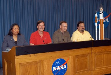 KENNEDY SPACE CENTER, FLA. - At a press conference at NASA's Kennedy Space Center, NASA officials announced the names of the next-generation of rockets for future space exploration. Seated (left to right) are Dolores Beasley, with NASA Public Affairs; Scott Horowitz, NASA associate administrator of the Exploration Systems Mission Directorate; Jeff Hanley, manager of the Constellation Program at Johnson Space Center; and Steve Cook, manager of the Exploration Launch Office at Marshall Space Flight Center. The crew launch vehicle will be called Ares I, and the cargo launch vehicle will be known as Ares V. The name Ares is a pseudonym for Mars and appropriate for NASA's exploration mission. Photo credit: NASA/George Shelton