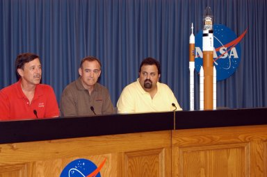 KENNEDY SPACE CENTER, FLA. - At a press conference in at NASA's Kennedy Space Center, NASA officials announced the names of the next-generation of rockets for future space exploration. Seated at the dais are (left to right) Scott Horowitz, NASA associate administrator of the Exploration Systems Mission Directorate; Jeff Hanley, manager of the Constellation Program at Johnson Space Center; and Steve Cook, manager of the Exploration Launch Office at Marshall Space Flight Center. The crew launch vehicle will be called Ares I, and the cargo launch vehicle will be known as Ares V. The name Ares is a pseudonym for Mars and appropriate for NASA's exploration mission. Photo credit: NASA/George Shelton