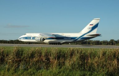 """KENNEDY SPACE CENTER, FLA. -- At the KSC Shuttle Landing Facility, the Antonov 124 aircraft arrives with its cargo, the remote manipulator system for the Japanese Experiment Module. The JEM, named """"Kibo"""" (Hope), is Japan's primary contribution to the International Space Station. It will enhance the unique research capabilities of the orbiting complex by providing an additional environment for astronauts to conduct science experiments. The Japanese Aerospace Exploration Agency developed the laboratory. Both the JEM and RMS are targeted for mission STS-124, to launch in early 2008. Photo credit: NASA/Jack Pfaller"""