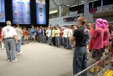 """KENNEDY SPACE CENTER, FLA. -- Student competitors listen to game rules before the FIRST robotics event held at the University of Central Florida Arena March 8-10. The FIRST, or For Inspiration and Recognition of Science and Technology, Robotics Competition challenges teams of young people and their mentors to solve a common problem in a six-week timeframe using a standard """"kit of parts"""" and a common set of rules. Teams build robots from the parts and enter them in a series of competitions designed by FIRST founder Dean Kamen and Dr. Woodie Flowers, chairman and vice chairman of the Executive Advisory Board respectively, and a committee of engineers and other professionals. FIRST redefines winning for these students. Teams are rewarded for excellence in design, demonstrated team spirit, gracious professionalism and maturity, and ability to overcome obstacles. Scoring the most points is a secondary goal. Winning means building partnerships that last. Photo credit: NASA/Kim Shiflett"""