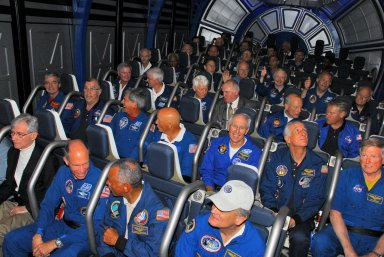 KENNEDY SPACE CENTER, FLA. -- Former astronauts take their seats in the newest attraction at Kennedy Space Center's Visitor Complex, the Shuttle Launch Experience. In the front row are (left to right) John Young, Rick Searfoss, Charles Bolden and Norm Thagard. The attraction includes a simulated launch with the sights, sounds and sensations of launching into space. Find out more about the Visitor Complex and the Shuttle Launch Experience at *http://www.kennedyspacecenter.com/visitKSC/attractions/index.asp*. Photo credit: NASA/George Shelton
