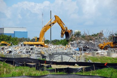 KENNEDY SPACE CENTER, FLA. -- The SAEF II Payload Processing Facility (M7-1210) was demolished having outlived its useful life. Located in the Industrial Area, the facility was originally built for the Viking Program in the mid-1970s. It was abandoned in 2004 and placed on the demolition list because it was no longer used due to the condition of the facility. NASA/George Shelton