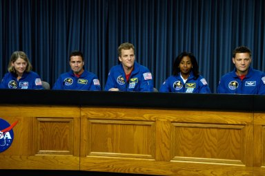 KENNEDY SPACE CENTER, FLA. -- Members of the STS-120 crew take part in a news conference after their successful landing aboard space shuttle Discovery at NASA's Kennedy Space Center. From left are Commander Pamela Melroy, Pilot George Zamka and mission specialists Scott Parazynski, Stephanie Wilson and Doug Wheelock. The crew completed a 15-day mission to the International Space Station with a smooth landing on Runway 33. Main gear touchdown was 1:01:16 p.m. Wheel stop was at 1:02:07 p.m. Mission elapsed time was 15 days, 2 hours, 24 minutes and 2 seconds. Mission STS-120 continued the construction of the station with the installation of the Harmony Node 2 module and the relocation of the P6 truss. Photo credit: NASA/George Shelton