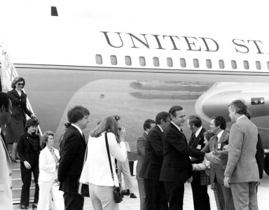KENNEDY SPACE CENTER, FLA. -- Vice President George H.W. Bush, center left, is welcomed to KSC's Shuttle Landing facility. At the Center for the Spacelab Arrival Ceremony, the vice president is greeted by, from left, Center Director Richard G. Smith; Mrs. Smith; U.S. Rep. Ronnie Flippo, D-Ala.; an Robert Allnut, director of external affairs for NASA Headquarters. In the welcoming party but not pictured was U.S. Rep. Bill Nelson, D-Fla.