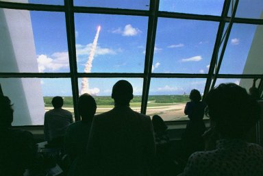 KENNEDY SPACE CENTER, FLA. -- As viewed from Firing Room One in the Launch Control Center, the STS-34 Space Shuttle Atalntis lifts off from Pad 39-B at 12:53 p.m. EDT, marking the beginning of a five-day mission in space. Atlantis is carrying a crew of five and the spacecraft Galileo, which will be deployed on a six-year rip to Jupiter.