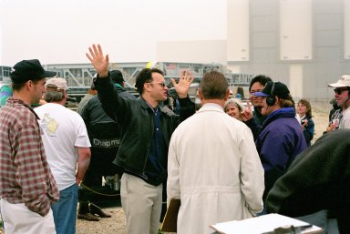 KENNEDY SPACE CENTER, FLA. -- Film director Ron Howard [right, with head phones] and a production crew, along with actor Tom Hanks [center], are filming a number of scenes at KSC for an upcoming film about the Apollo 13 mission.