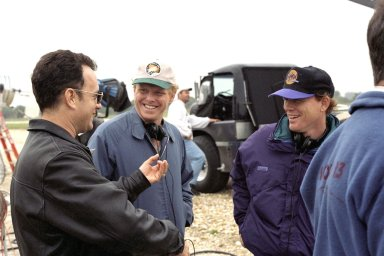 KENNEDY SPACE CENTER, FLA. -- Film director Ron Howard (right) and a production crew, along with actor Tom Hanks (left), are filming a number of scenes at KSC for an upcoming film about the Apollo 13 mission.