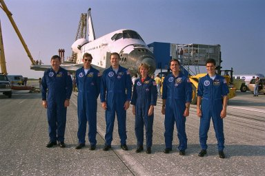 KENNEDY SPACE CENTER, FLA. -- The STS-94 flight crew poses in front of the Space Shuttle orbiter Columbia after an end-of-mission landing on Runway 33 at KSC?s Shuttle Landing Facility July 17 to complete the Microgravity Science Laboratory-1 (MSL-1) mission. They are (from left): Payload Specialist Roger K. Crouch; Mission Specialist Michael L. Gernhardt; Mission Commander James D. Halsell Jr.; Pilot Susan L. Still; Mission Specialist Donald A. Thomas; and Payload Specialist Gregory T. Linteris. Not shown is Payload Commander Janice Voss. During the 15-day, 16-hour spaceflight, the MSL-1 Spacelab module was used to test some of the hardware, facilities and procedures that are planned for use on the International Space Station; the flight crew also conducted combustion, protein crystal growth and materials processing experiments. This mission was a reflight of the STS-83 mission earlier this year that was cut short due to indications of a faulty fuel cell