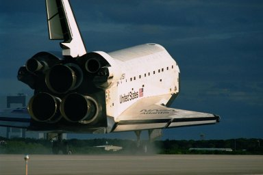 The Space Shuttle orbiter Atlantis touches down on Runway 15 of the KSC Shuttle Landing Facility (SLF) to complete the nearly 11-day STS-86 mission. Main gear touchdown was at 5:55:09 p.m. EDT on Oct. 6, 1997. The unofficial mission-elapsed time at main gear touchdown was 10 days, 19 hours, 20 minutes and 50 seconds. The first two landing opportunities on Sunday were waved off because of weather concerns. The 87th Space Shuttle mission was the 40th landing of the Shuttle at KSC. On Sunday evening, the Space Shuttle program reached a milestone: The total flight time of the Shuttle passed the two-year mark. STS-86 was the seventh of nine planned dockings of the Space Shuttle with the Russian Space Station Mir. STS-86 Mission Specialist David A. Wolf replaced NASA astronaut and Mir 24 crew member C. Michael Foale, who has been on the Mir since mid-May. Foale returned to Earth on Atlantis with the remainder of the STS-86 crew. The other crew members are Commander James D. Wetherbee, Pilot Michael J. Bloomfield, and Mission Specialists Wendy B. Lawrence, Scott E. Parazynski, Vladimir Georgievich Titov of the Russian Space Agency, and Jean-Loup J.M. Chretien of the French Space Agency, CNES. Wolf is scheduled to remain on the Mir until the STS-89 Shuttle mission in January. Besides the docking and crew exchange, STS-86 included the transfer of more than three-and-ahalf tons of science/logistical equipment and supplies between the two orbiting spacecraft. Parazynski and Titov also conducted a spacewalk while Atlantis and the Mir were docked