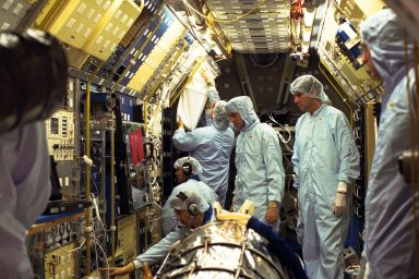 The Neurolab payload for STS-90, scheduled to launch aboard the Shuttle Columbia from Kennedy Space Center (KSC) on April 2, 1998, undergoes further processing in the Operations and Checkout Building at KSC. Investigations during the Neurolab mission will focus on the effects of microgravity on the nervous system. Specifically, experiments will study the adaptation of the vestibular system, the central nervous system, and the pathways that control the ability to sense location in the absence of gravity, as well as the effect of microgravity on a developing nervous system. The crew of STS-90 will include Commander Richard Searfoss, Pilot Scott Altman, Mission Specialists Richard Linnehan, Dafydd (Dave) Williams, M.D., and Kathryn (Kay) Hire, and Payload Specialists Jay Buckey, M.D., and James Pawelczyk, Ph.D
