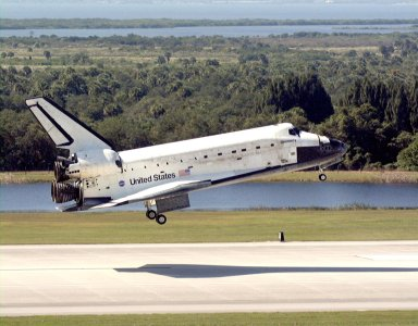 After a successful mission of nearly nine days and 3.6 million miles, the orbiter Discovery glides to Earth on runway 33 at the Shuttle Landing Facility. Main gear touchdown was at 12:04 p.m. EST, landing on orbit 135. The STS-95 mission included research payloads such as the Spartan solar-observing deployable spacecraft, the Hubble Space Telescope Orbital Systems Test Platform, the International Extreme Ultraviolet Hitchhiker, as well as the SPACEHAB single module with experiments on space flight and the aging process. The crew consisted of Mission Commander Curtis L. Brown Jr.; Pilot Steven W. Lindsey; Mission Specialist Scott E. Parazynski; Mission Specialist Stephen K. Robinson; Payload Specialist John H. Glenn Jr., a senator from Ohio; Mission Specialist Pedro Duque, with the European Space Agency (ESA); and Payload Specialist Chiaki Mukai, with the National Space Development Agency of Japan (NASDA)