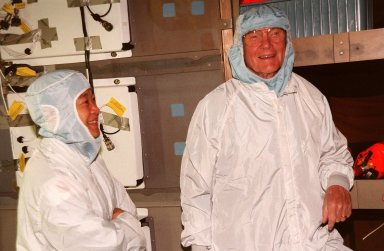 (Left to right) STS-95 Payload Specialists Chiaki Mukai, with the National Space Development Agency of Japan, and John H. Glenn Jr., senator from Ohio, take part in middeck orientation during a Crew Equipment Interface Test (CEIT) in the Orbiter Processing Facility Bay 2. The CEIT gives astronauts an opportunity for a hands-on look at the payloads on which they will be working on orbit. The launch of the STS-95 mission, aboard Space Shuttle Discovery, is scheduled for Oct. 29, 1998. The mission includes research payloads such as the Spartan solar-observing deployable spacecraft, the Hubble Space Telescope Orbital Systems Test Platform, the International Extreme Ultraviolet Hitchhiker, as well as the SPACEHAB single module with experiments on space flight and the aging process