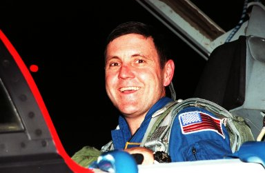 """STS-88 Mission Commander Robert D. Cabana arrives after dark at the Shuttle Landing Facility in a T-38 jet aircraft to take part in Terminal Countdown Demonstration Test (TCDT) activities. The TCDT provides the crew with simulated countdown exercises, emergency egress training, and opportunities to inspect their mission payloads in the orbiter's payload bay. Mission STS-88 is targeted for launch on Dec. 3, 1998. It is the first U.S. flight for the assembly of the International Space Station and will carry the Unity connecting module. Others in the STS-88 crew are Pilot Frederick W. """"Rick"""" Sturckow, Mission Specialists Nancy J. Currie, Jerry L. Ross, James H. Newman and Russian cosmonaut Sergei Konstantinovich Krikalev. Ross and Newman will make three spacewalks to connect power, data and utility lines and install exterior equipment"""
