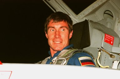 """STS-88 Mission Specialist Sergei Krikalev, a Russian cosmonaut, arrives after dark at the Shuttle Landing Facility in a T-38 jet aircraft to take part in Terminal Countdown Demonstration Test (TCDT) activities. The TCDT provides the crew with simulated countdown exercises, emergency egress training, and opportunities to inspect their mission payloads in the orbiter's payload bay. Mission STS-88 is targeted for launch on Dec. 3, 1998. It is the first U.S. flight for the assembly of the International Space Station and will carry the Unity connecting module. Others in the STS-88 crew are Mission Commander Robert D. Cabana, Pilot Frederick W. """"Rick"""" Sturckow, Mission Specialists Nancy J. Currie, Jerry L. Ross, and James H. Newman. Ross and Newman will make three spacewalks to connect power, data and utility lines and install exterior equipment"""