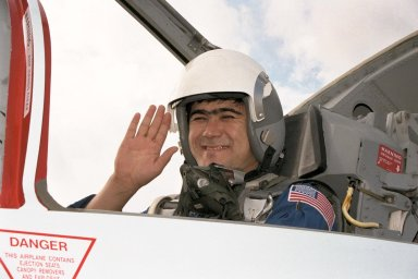 STS-89 Mission Specialist Salizhan Sharipov of the Russian Space Agency arrives at the KSC Shuttle Landing Facility in one of the T-38 aircraft traditionally flown by the astronaut corps. The eight STS-89 crew members flew into KSC from Johnson Space Center as final preparations are under way toward the scheduled liftoff on Jan. 22 of the Space Shuttle Endeavour on the eighth mission to dock with the Russian Space Station Mir. After docking, STS-89 Mission Specialist Andrew Thomas, Ph.D., will transfer to the space station, succeeding David Wolf, M.D., who will return to Earth aboard Endeavour. Dr. Thomas will live and work on Mir until June. STS-89 is scheduled for a Jan. 22 liftoff at 9:48 p.m. EST