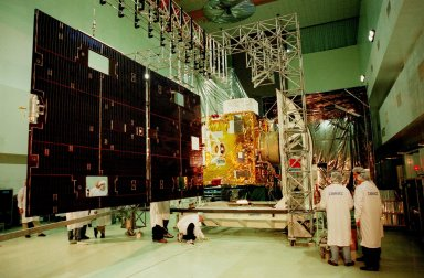 The solar panels on the GOES-L [ http://www-pao.ksc.nasa.gov/kscpao/captions/subjects/goes-l.htm ] weather satellite are fully deployed. Final testing of the imaging system, instrumentation, communications and power systems also will be performed at the Astrotech facility, Titusville, Fla. The satellite is to be launched from Cape Canaveral Air Station (CCAS) aboard an Atlas II rocket in late March. The GOES-L is the fourth of a new advanced series of geostationary weather satellites for the National Oceanic and Atmospheric Administration. It is a three-axis inertially stabilized spacecraft that will provide pictures and perform atmospheric sounding at the same time. Once launched, the satellite, to be designated GOES-11, will undergo checkout and provide backup capabilities for the existing, aging GOES East weather satellite