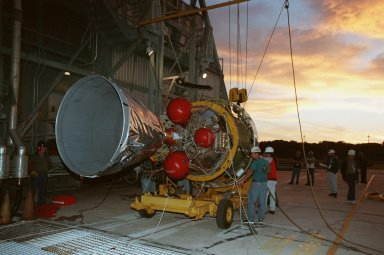 At Pad 17A, Cape Canaveral Air Station, the second stage of a Boeing Delta II rocket arrives for mating with the first stage. The rocket is targeted for launch on Feb. 6, carrying the Stardust [ http://www-pao.ksc.nasa.gov/kscpao/captions/subjects/stardust.htm ] spacecraft into space for a close encounter with the comet Wild 2 in January 2004. Using a substance called aerogel, Stardust will capture comet particles flying off the nucleus of the comet, plus collect interstellar dust for later analysis. The collected samples will return to Earth in a sample return capsule to be jettisoned as Stardust swings by Earth in January 2006