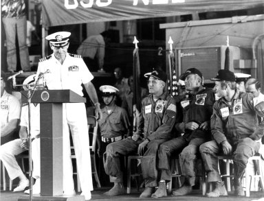 KENNEDY SPACE CENTER, FLA. -- The Commanding Officer of the USS New Orleans, Captain Ralph E. Neiger, welcomes aboard ASTP astronauts Thomas Stafford, Donald Slayton and Vance Brand. The astronauts splashed down in the Pacific Ocean west of Hawaii at 5:18 p.m. today, ending the nine-day ASTP mission. Themission was highlighted by the rendezvous and docking with a Soviet Soyuz spacecraft in Earth orbit.