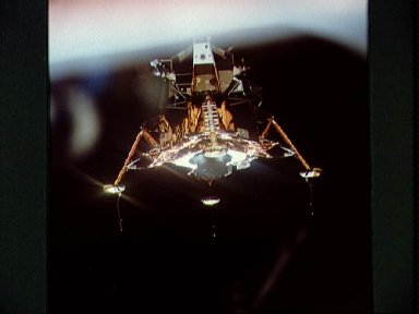 View Lunar module from the Command module before its descent to lunar surface
