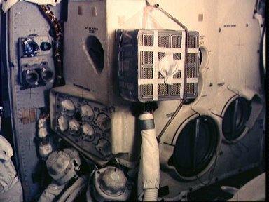 """Interior view of """"mail box"""" for purging carbon dioxide from Lunar Module"""