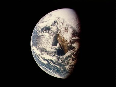 Photograph of Earth taken from Apollo 13 spacecraft during transearth journey