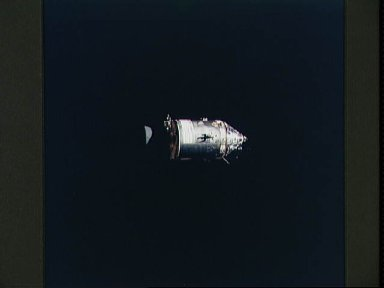 Apollo Command/Service Modules photographed against black sky