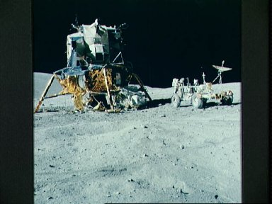 """View of the Lunar Module """"Orion"""" and Lunar Roving Vehicle during first EVA"""