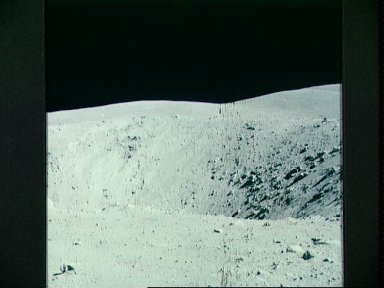 View of lunar surface at Apollo 16 station 11