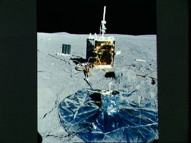 Partial view of the deployed Apollo Lunar Surface Experiments Package