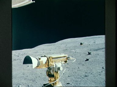 """Apollo 16 lunar module """"Orion"""" photographed from distance during EVA"""