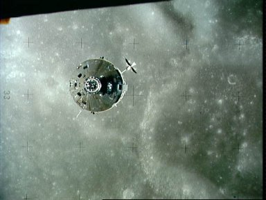 View of the Apollo 16 Command/Service Module from the Lunar module in orbit