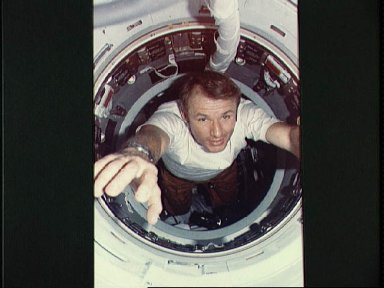 Astronaut Vance Brand seen in hatchway leading to Apollo Docking module