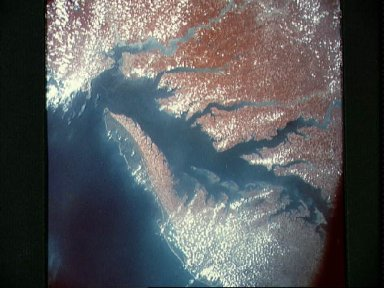 Infrared view of Chesapeake Bay showing Virginia, Maryland and Delaware
