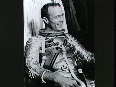 Astronaut Scott Carpenter in pressure suit awaiting simulated mission
