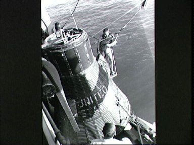 Astronaut Virgil Grissom during water egress training