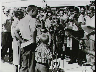 Astronaut Virgil Grissom and family at Patrick AFB airport
