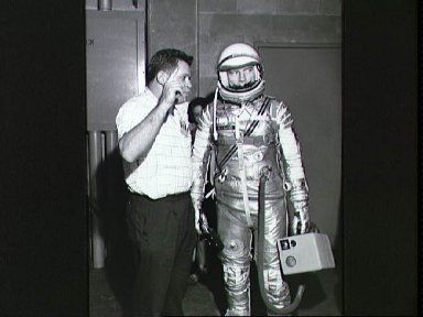 Astronaut Donald Slayton in pressure suit for altitude chamber test