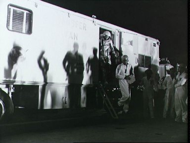 Astronaut Walter Schirra leaves transport van for Pad 14 and MA-8 mission