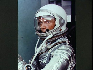 View of Astronaut John Glenn in his Mercury pressure suit