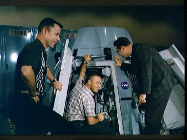 Astronauts Grissom and Young in Gemini Mission Simulator