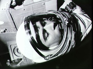Astronauts John Young in spacecraft before the flight