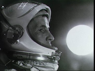 Close-up of Astronaut Edward White in space suit helmet