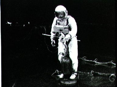 Astronaut Edward White during training for first EVA