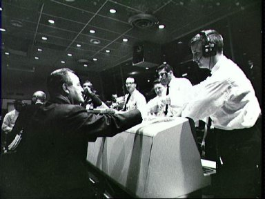 Vice President Hubert Humphrey during visit to Mission Control Cape Kennedy