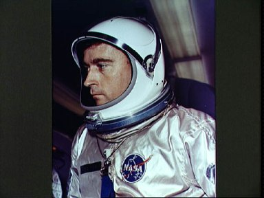 Astronaut John Young in space suit prior to Gemini 3 launch