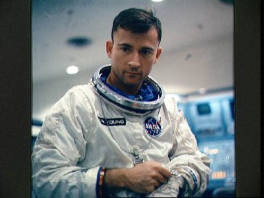Astronaut John Young suited up for pre-launch test exercises