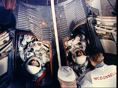 Astronauts Cooper and Conrad in Gemini spacecraft just after insertion