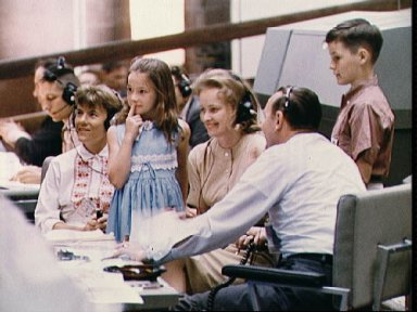Families of Gemini 4 astronauts in Mission Control in Houston